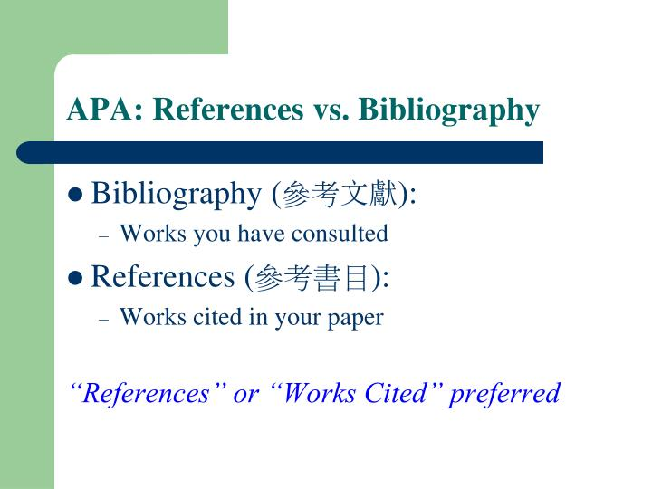 APA: References vs. Bibliography