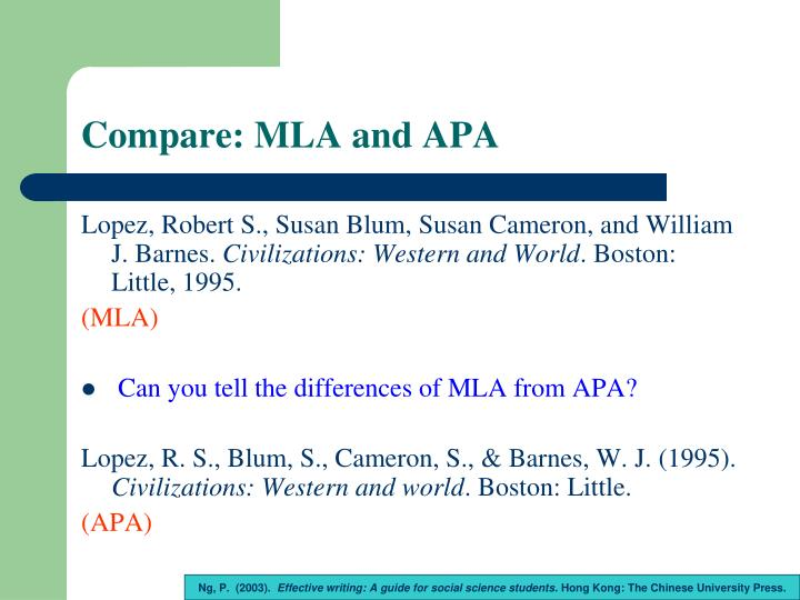 Compare: MLA and APA