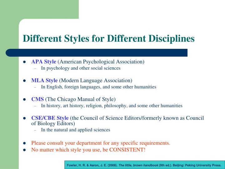 Different Styles for Different Disciplines
