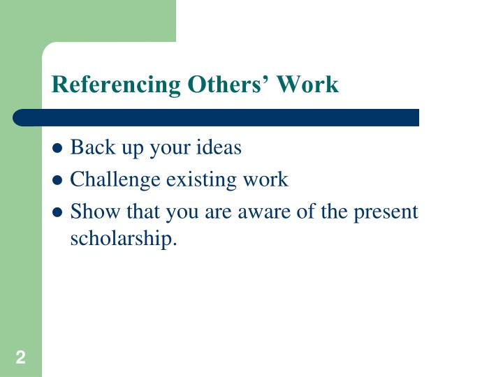 Referencing others work