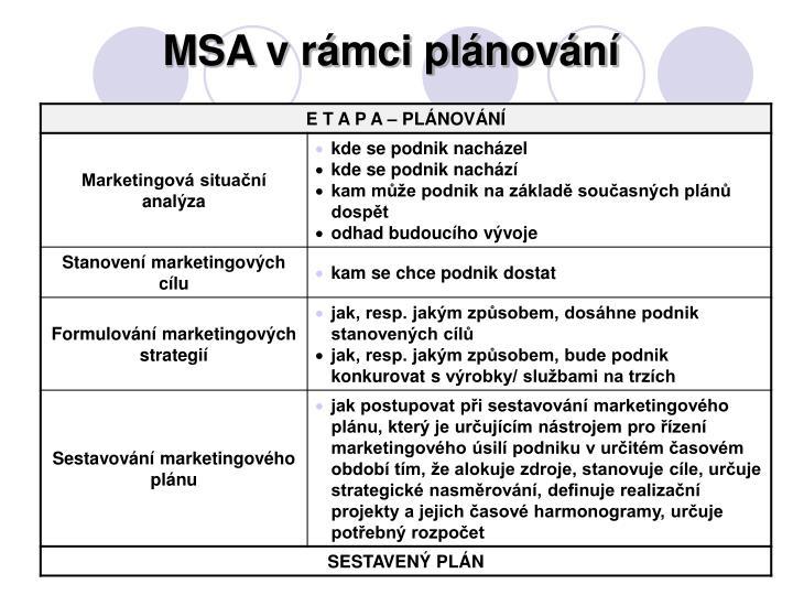 MSA v rámci plánování