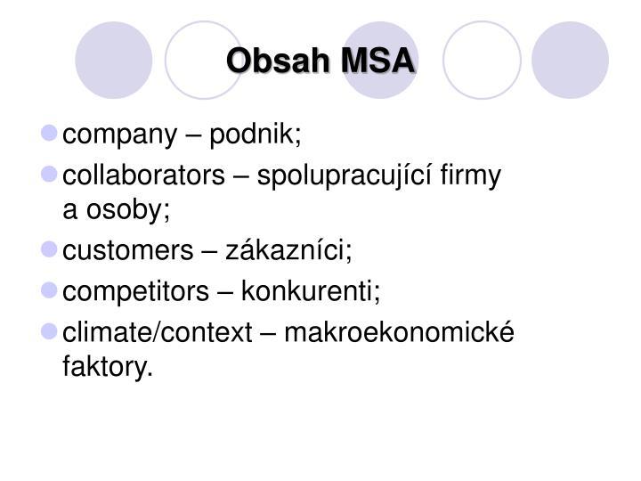 Obsah MSA