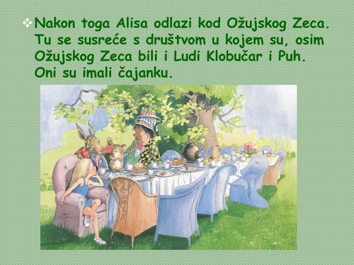 Nakon toga Alisa odlazi kod Ožujskog Zeca. Tu se susreće s društvom u kojem su, osim Ožujskog Zeca bili i Ludi Klobučar i Puh. Oni su imali čajanku.