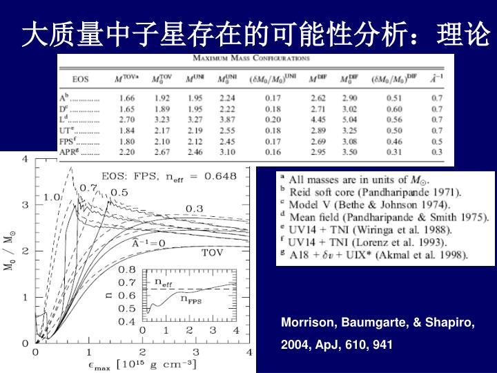 大质量中子星存在的可能性分析:理论