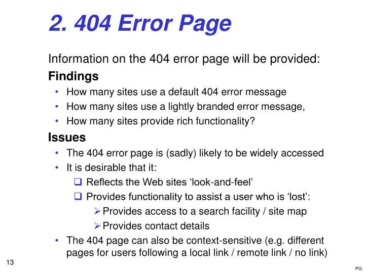 2. 404 Error Page