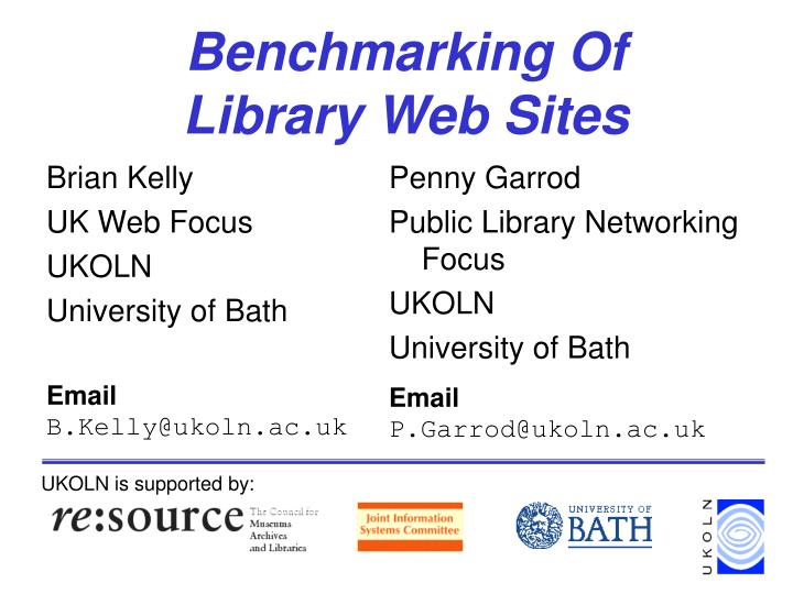 Benchmarking of library web sites