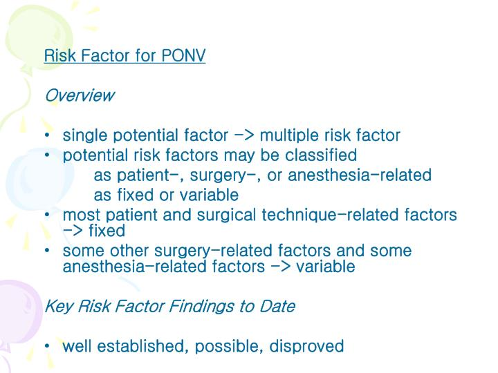 Risk Factor for PONV