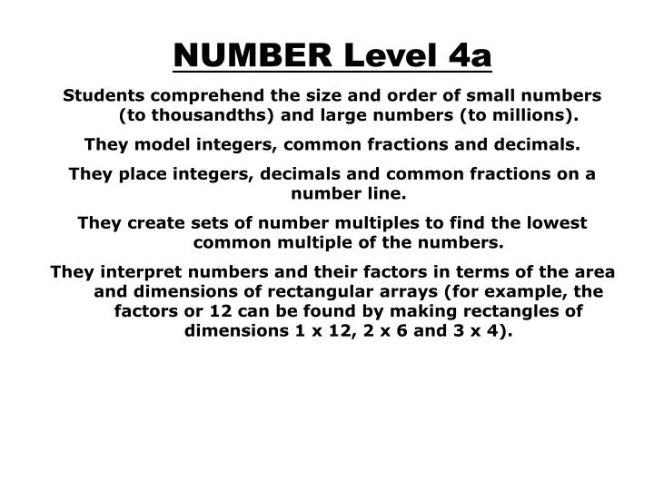 NUMBER Level 4a