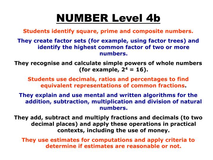 NUMBER Level 4b