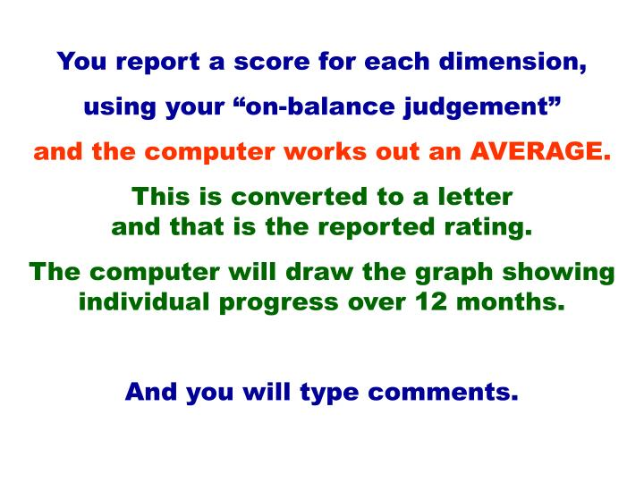 You report a score for each dimension,