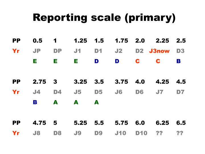 Reporting scale (primary)