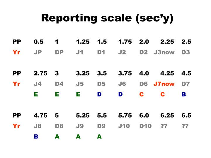 Reporting scale (sec'y)