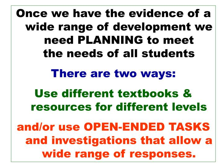 Once we have the evidence of a wide range of development we need PLANNING to meet