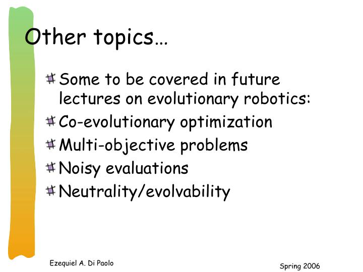 Other topics…