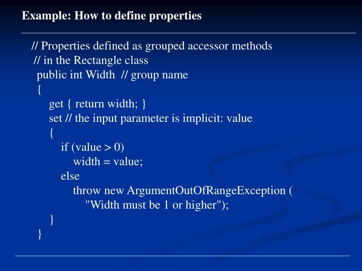 Example: How to define properties