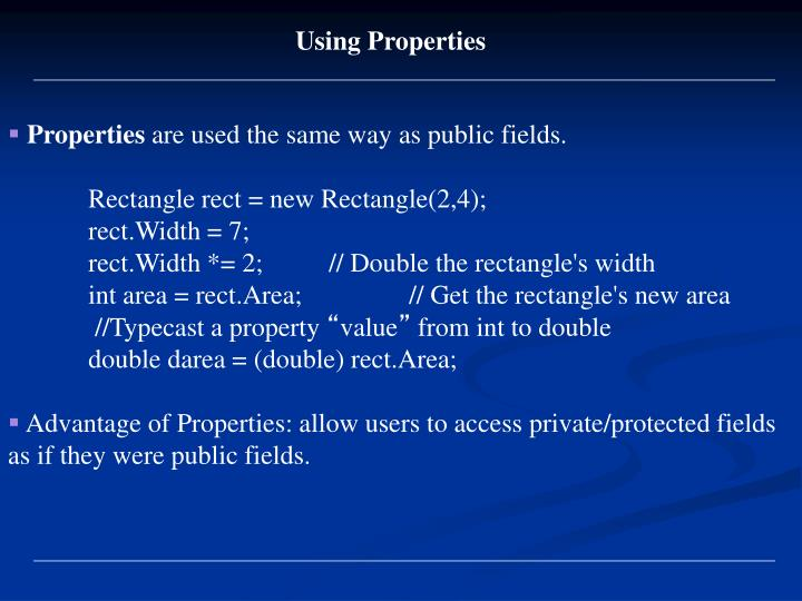 Using Properties