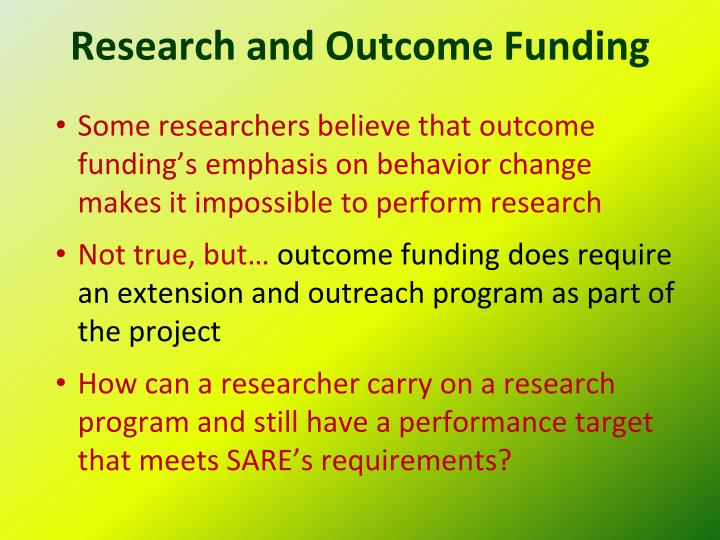 Research and Outcome Funding