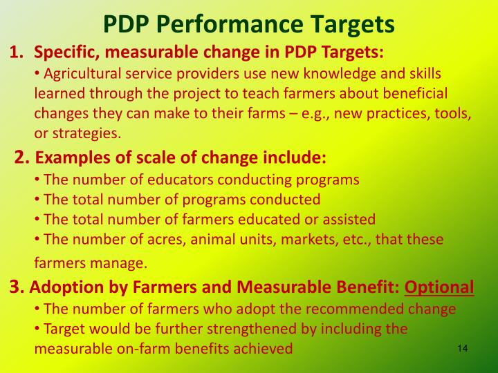 PDP Performance Targets