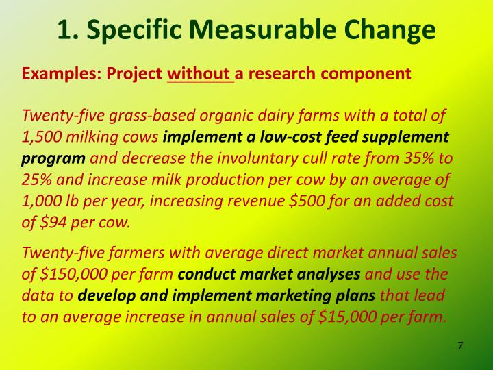 1. Specific Measurable Change