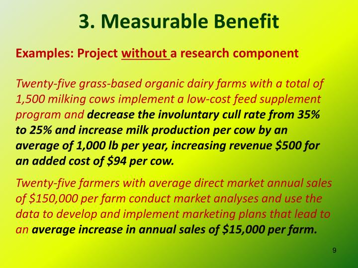 3. Measurable Benefit