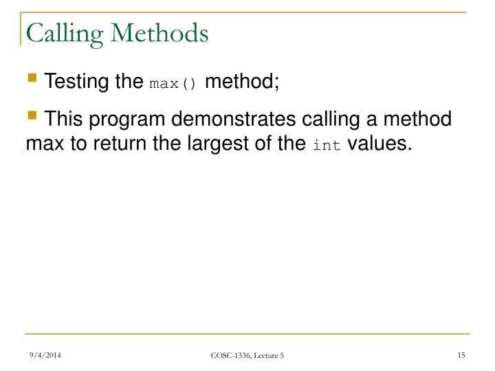 Calling Methods