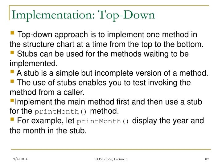 Implementation: Top-Down