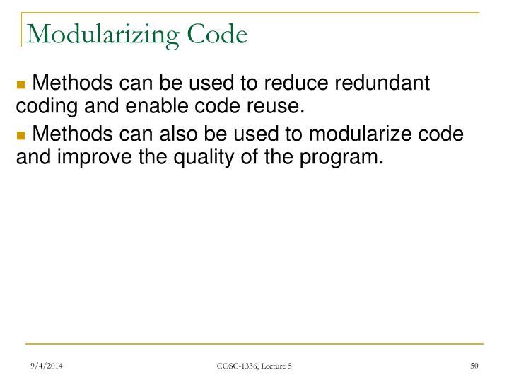 Modularizing Code