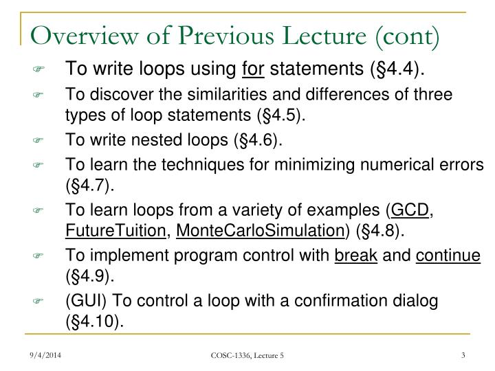 Overview of previous lecture cont