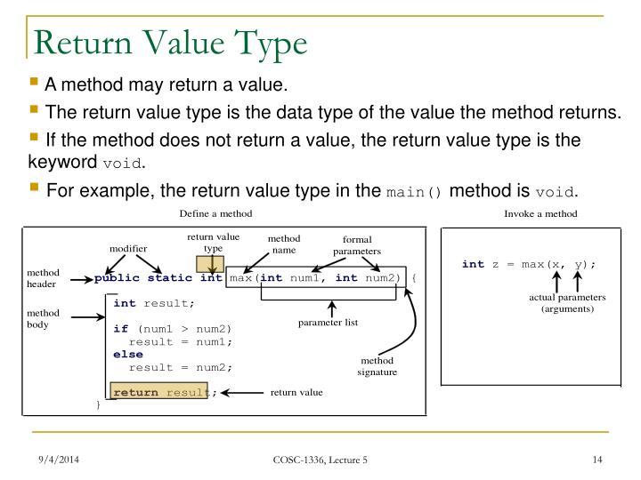 Return Value Type