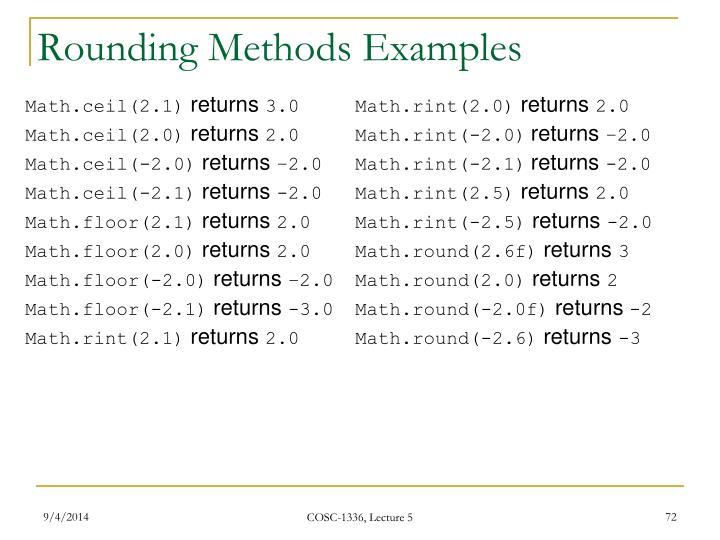 Rounding Methods Examples