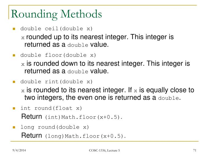Rounding Methods