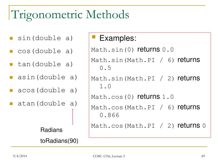 Trigonometric Methods