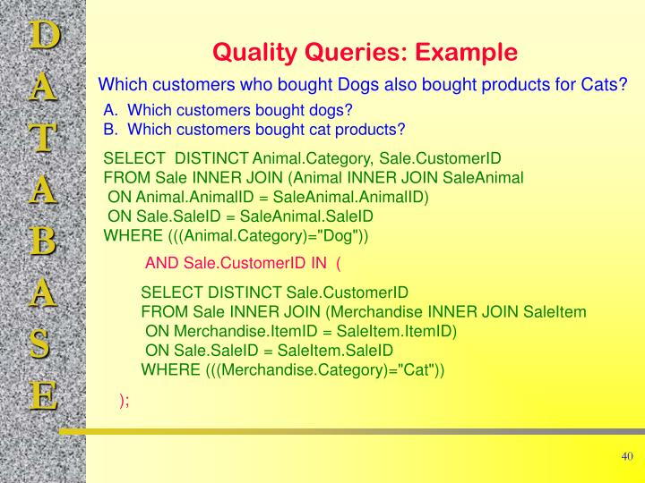 Quality Queries: Example
