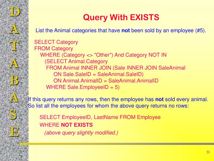 Query With EXISTS