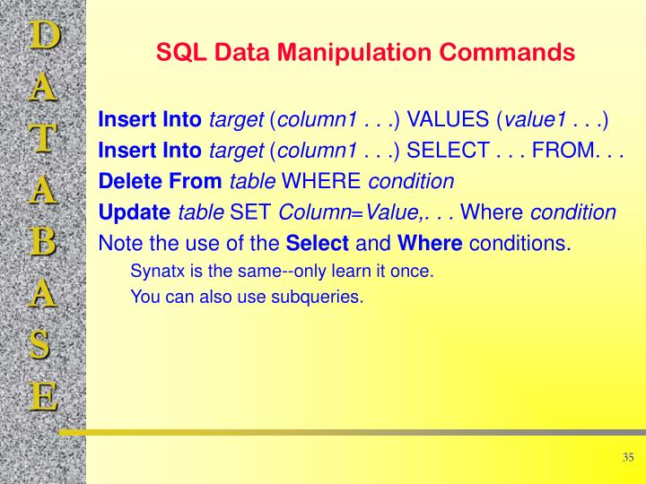 SQL Data Manipulation Commands