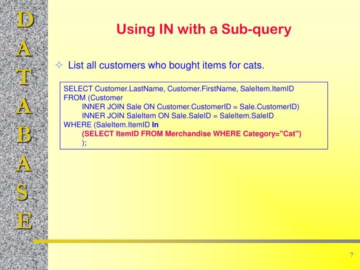 List all customers who bought items for cats.