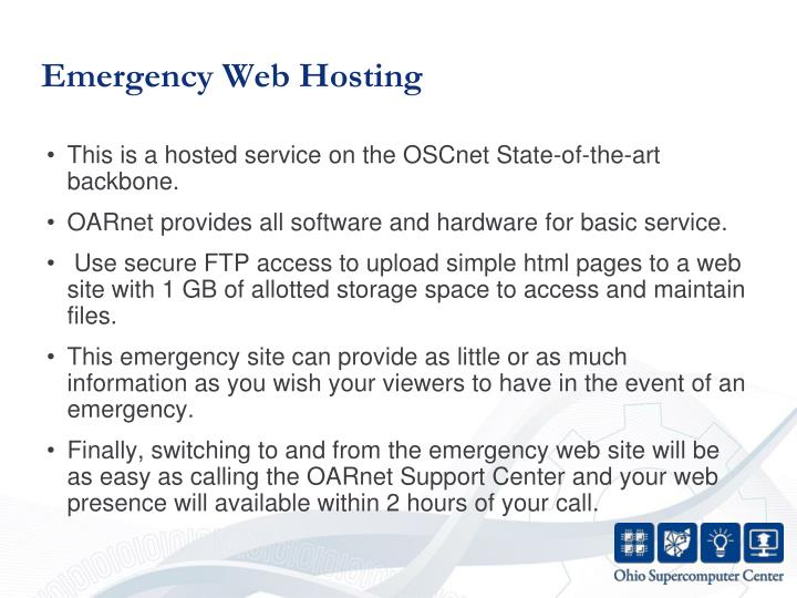 Emergency Web Hosting