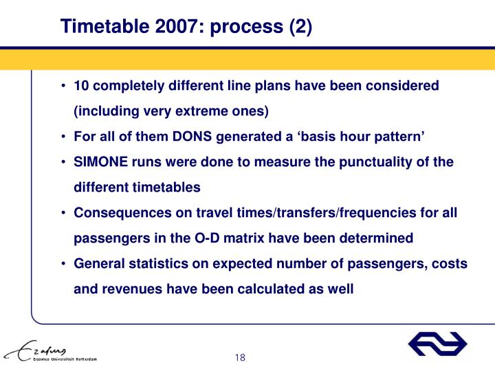 Timetable 2007: process (2)