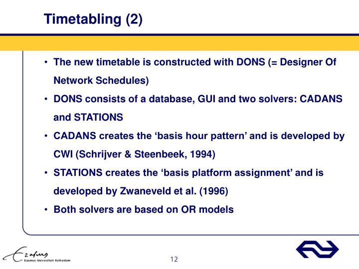 Timetabling (2)