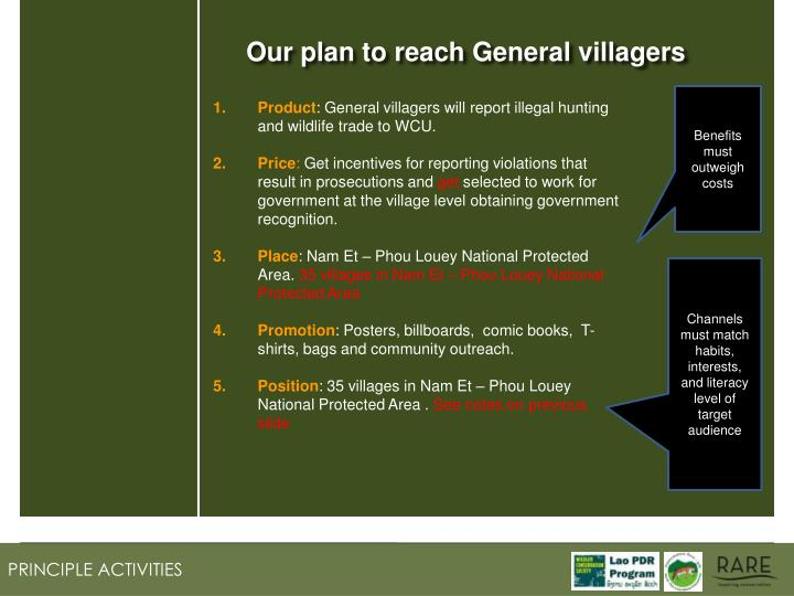 Our plan to reach General villagers