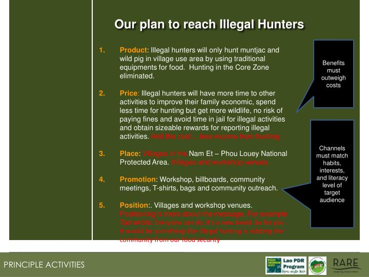 Our plan to reach Illegal Hunters