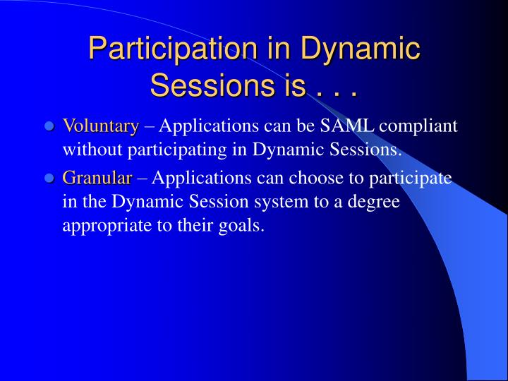 Participation in Dynamic Sessions is . . .