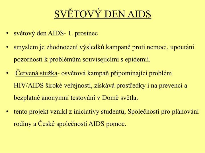 SVĚTOVÝ DEN AIDS