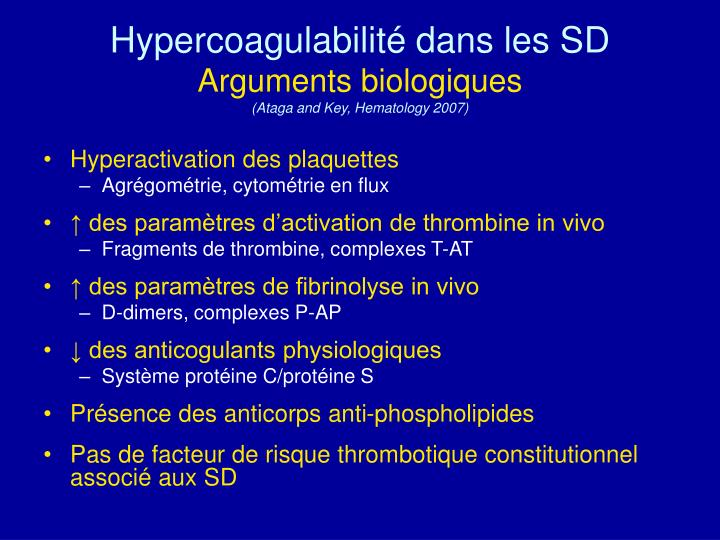 Hypercoagulabilité dans les SD