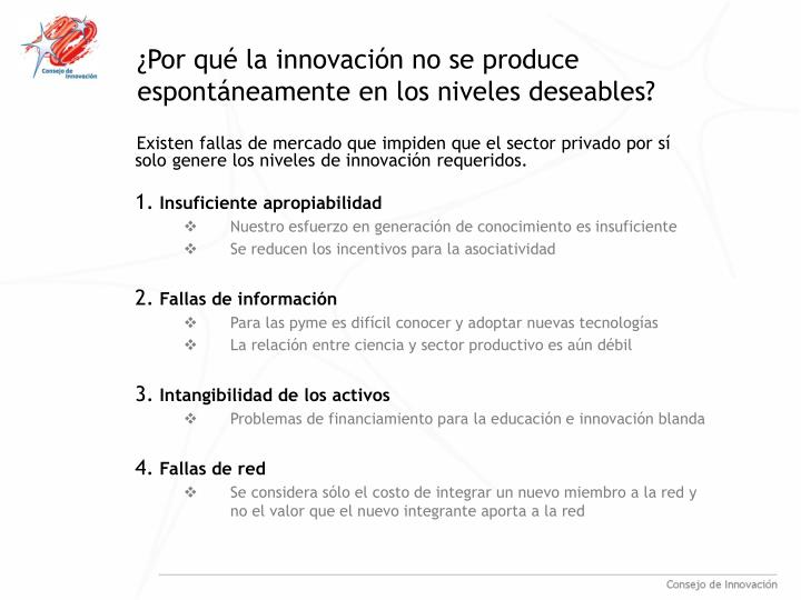 ¿Por qué la innovación no se produce espontáneamente en los niveles deseables?
