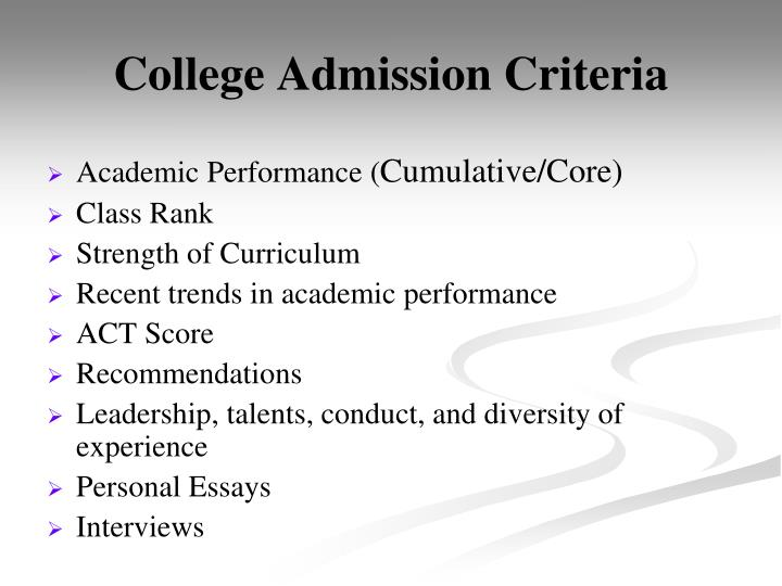 College Admission Criteria