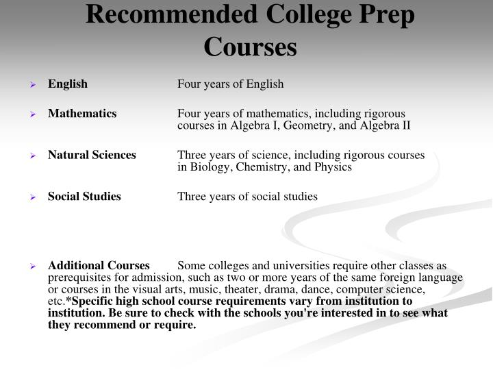 Recommended College Prep Courses