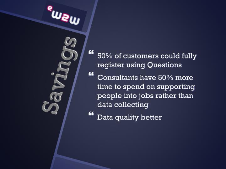 50% of customers could fully register using Questions