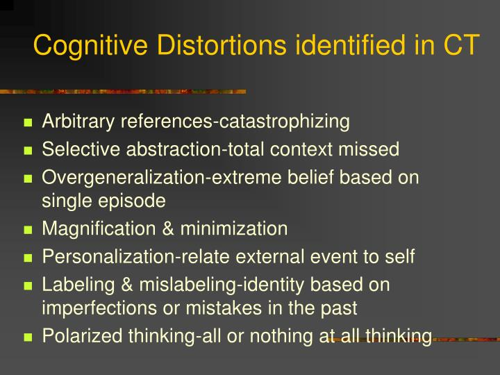 Cognitive Distortions identified in CT