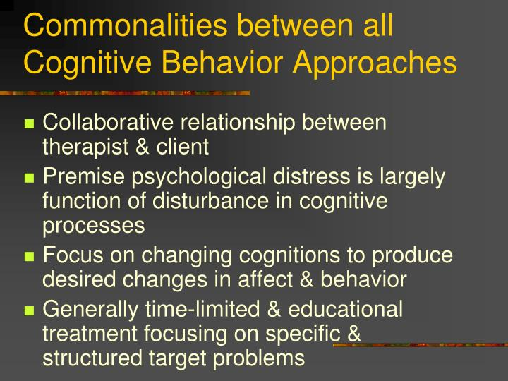 Commonalities between all Cognitive Behavior Approaches